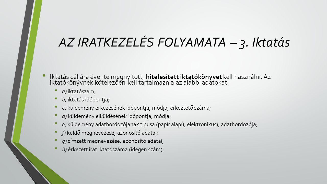 AZ IRATKEZELÉS FOLYAMATA – 3. Iktatás