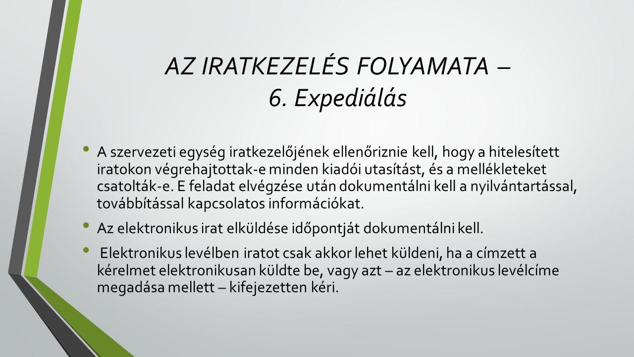 AZ IRATKEZELÉS FOLYAMATA – 6. Expediálás