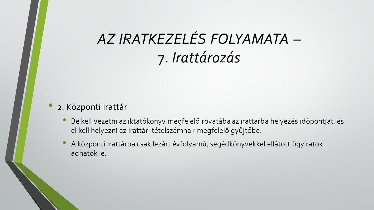 AZ IRATKEZELÉS FOLYAMATA – 7. Irattározás