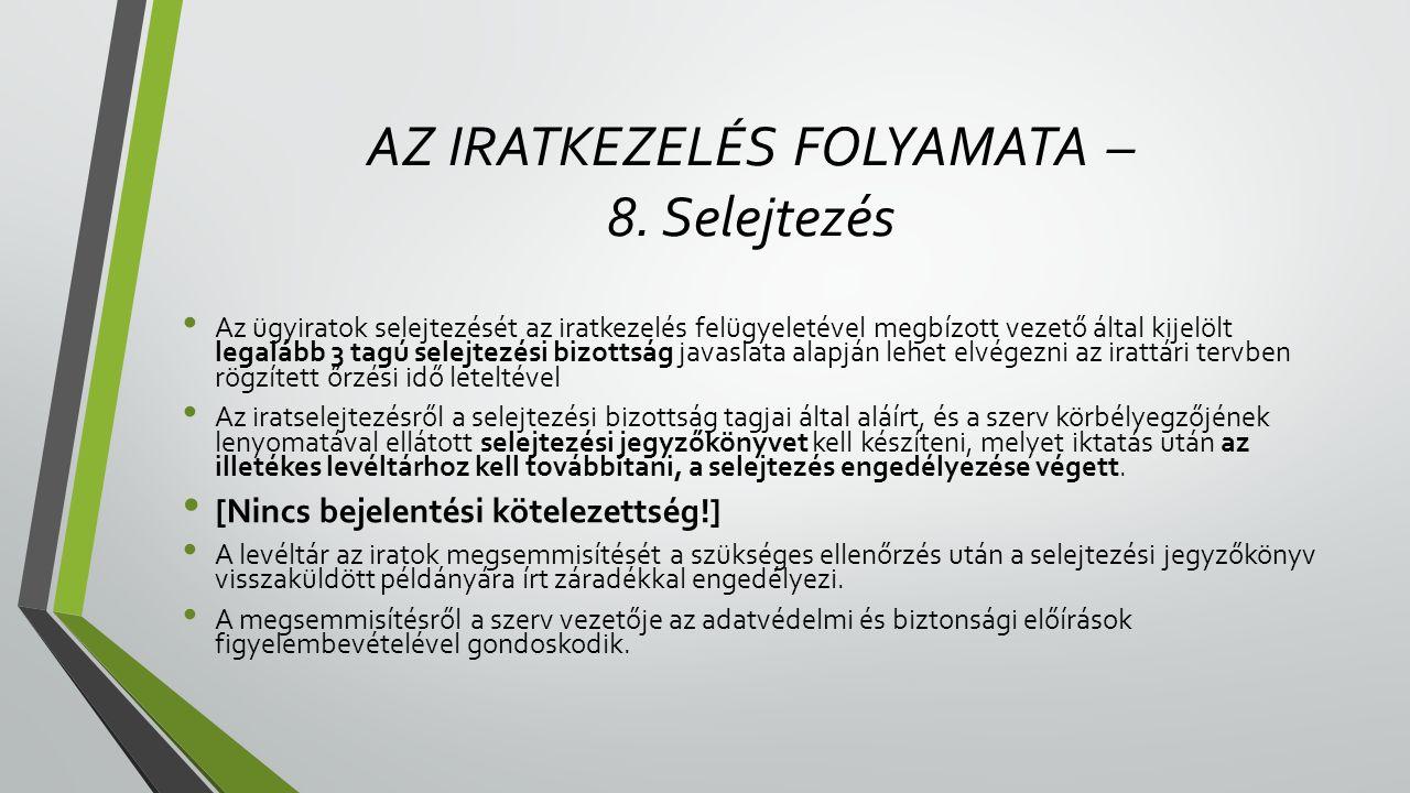 AZ IRATKEZELÉS FOLYAMATA – 8. Selejtezés