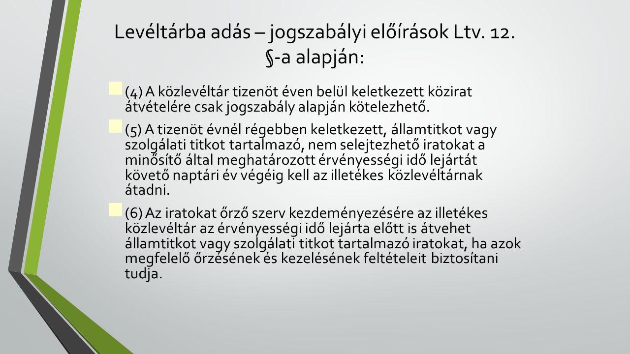 Levéltárba adás – jogszabályi előírások Ltv. 12. §-a alapján: