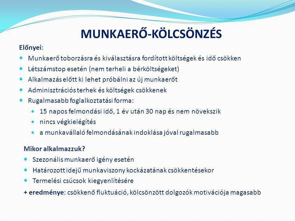 MUNKAERŐ-KÖLCSÖNZÉS Előnyei:
