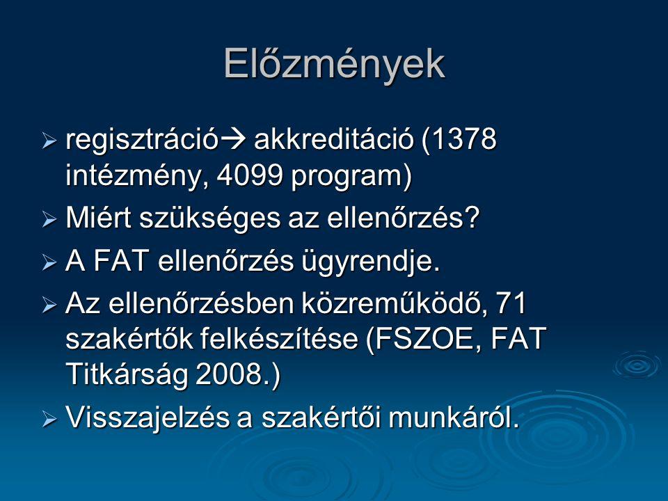 Előzmények regisztráció akkreditáció (1378 intézmény, 4099 program)
