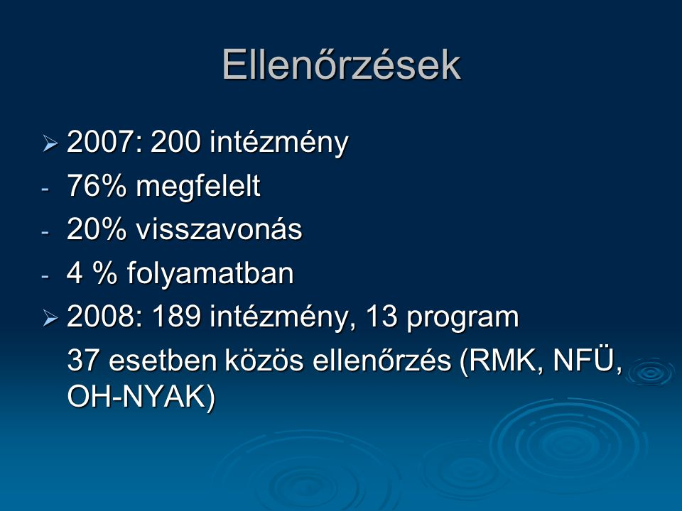 Ellenőrzések 2007: 200 intézmény 76% megfelelt 20% visszavonás