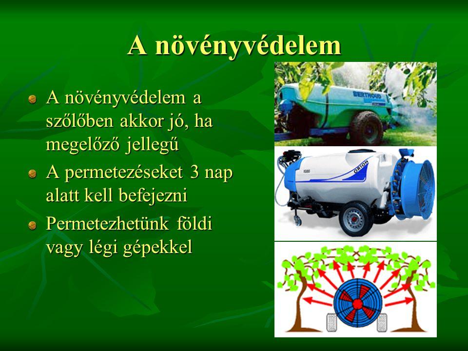 A növényvédelem A növényvédelem a szőlőben akkor jó, ha megelőző jellegű. A permetezéseket 3 nap alatt kell befejezni.