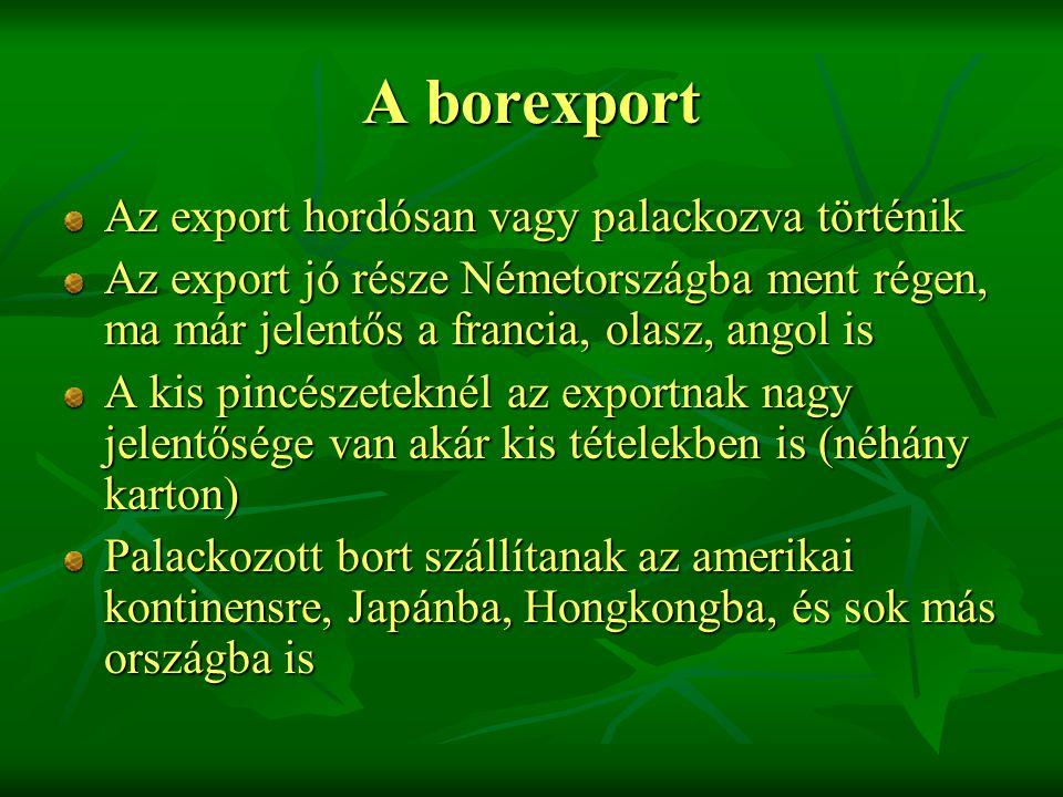 A borexport Az export hordósan vagy palackozva történik