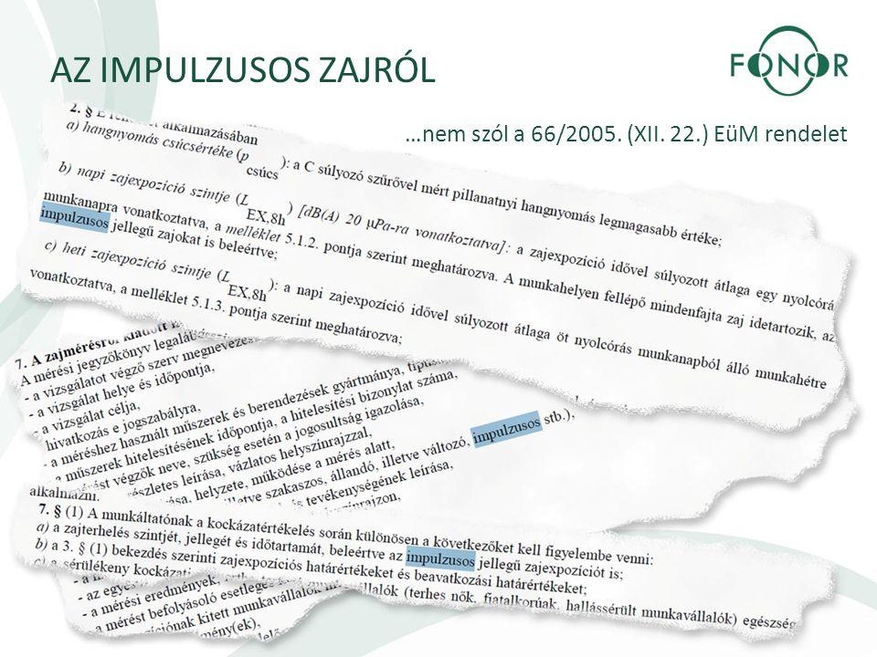 AZ IMPULZUSOS ZAJRÓL …nem szól a 66/2005. (XII. 22.) EüM rendelet