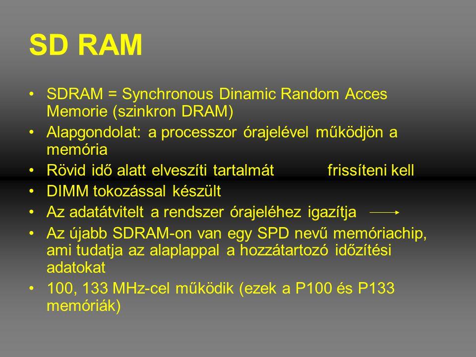SD RAM SDRAM = Synchronous Dinamic Random Acces Memorie (szinkron DRAM) Alapgondolat: a processzor órajelével működjön a memória.