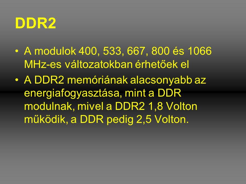 DDR2 A modulok 400, 533, 667, 800 és 1066 MHz-es változatokban érhetőek el.