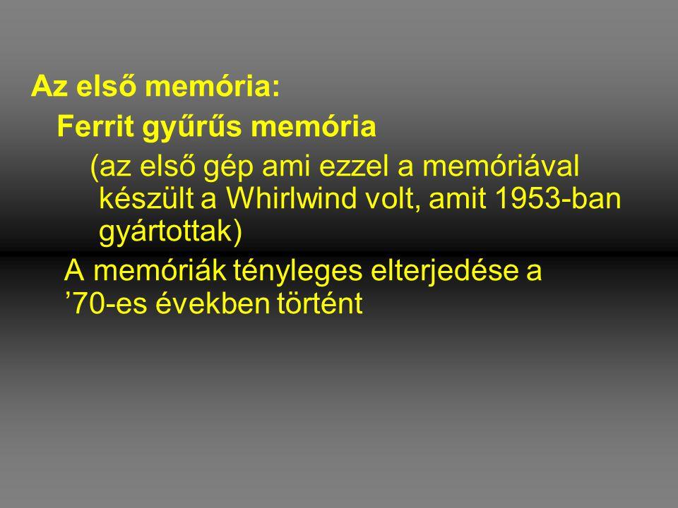 Az első memória: Ferrit gyűrűs memória. (az első gép ami ezzel a memóriával készült a Whirlwind volt, amit 1953-ban gyártottak)