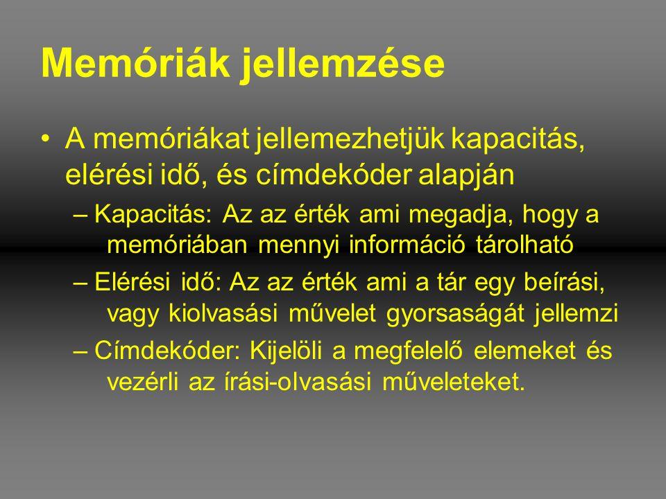 Memóriák jellemzése A memóriákat jellemezhetjük kapacitás, elérési idő, és címdekóder alapján.