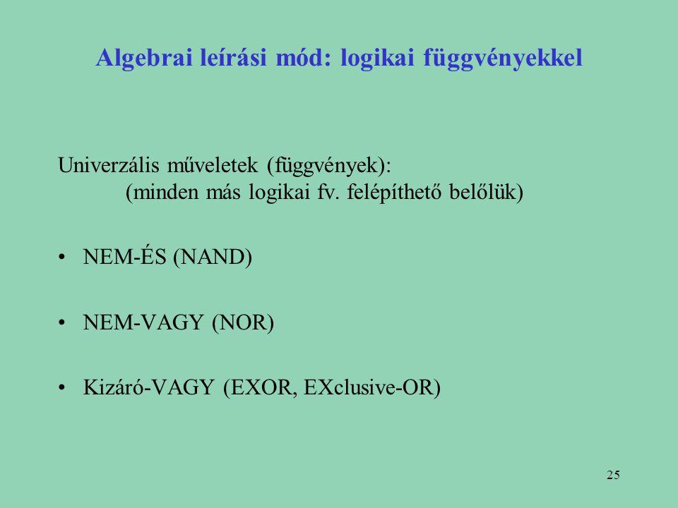 Algebrai leírási mód: logikai függvényekkel
