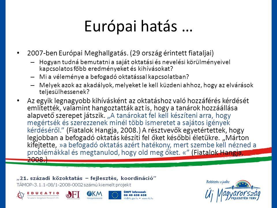 Európai hatás … 2007-ben Európai Meghallgatás. (29 ország érintett fiataljai)