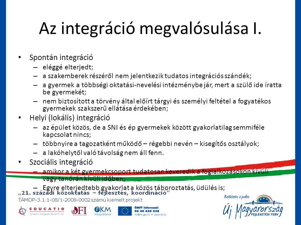 Az integráció megvalósulása I.