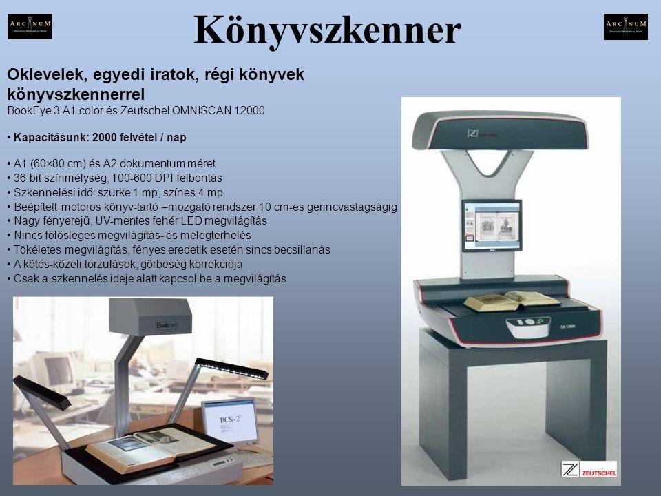 Könyvszkenner Oklevelek, egyedi iratok, régi könyvek könyvszkennerrel BookEye 3 A1 color és Zeutschel OMNISCAN 12000.