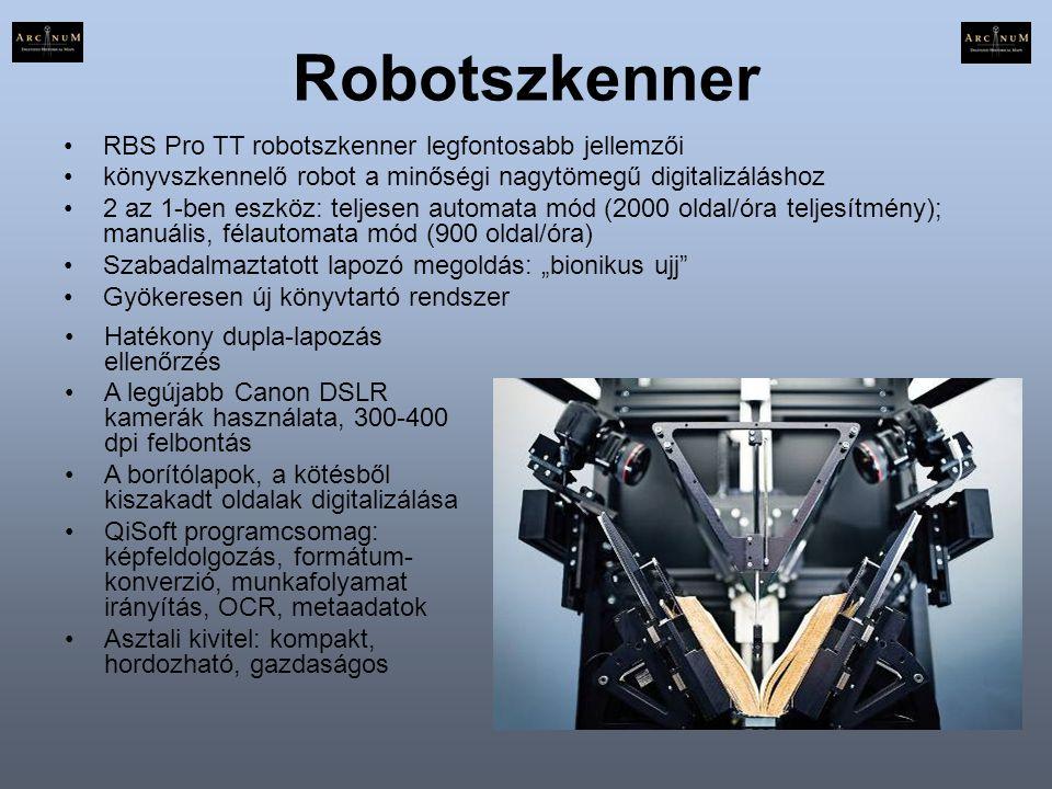 Robotszkenner RBS Pro TT robotszkenner legfontosabb jellemzői