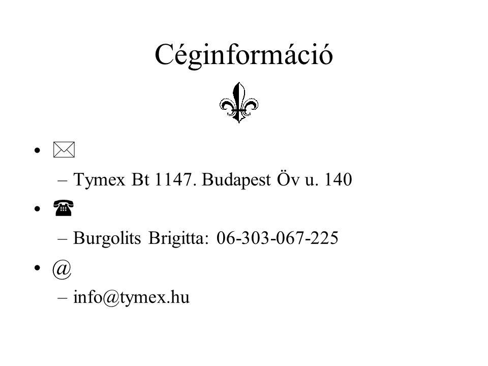 Céginformáció   @ Tymex Bt 1147. Budapest Öv u. 140