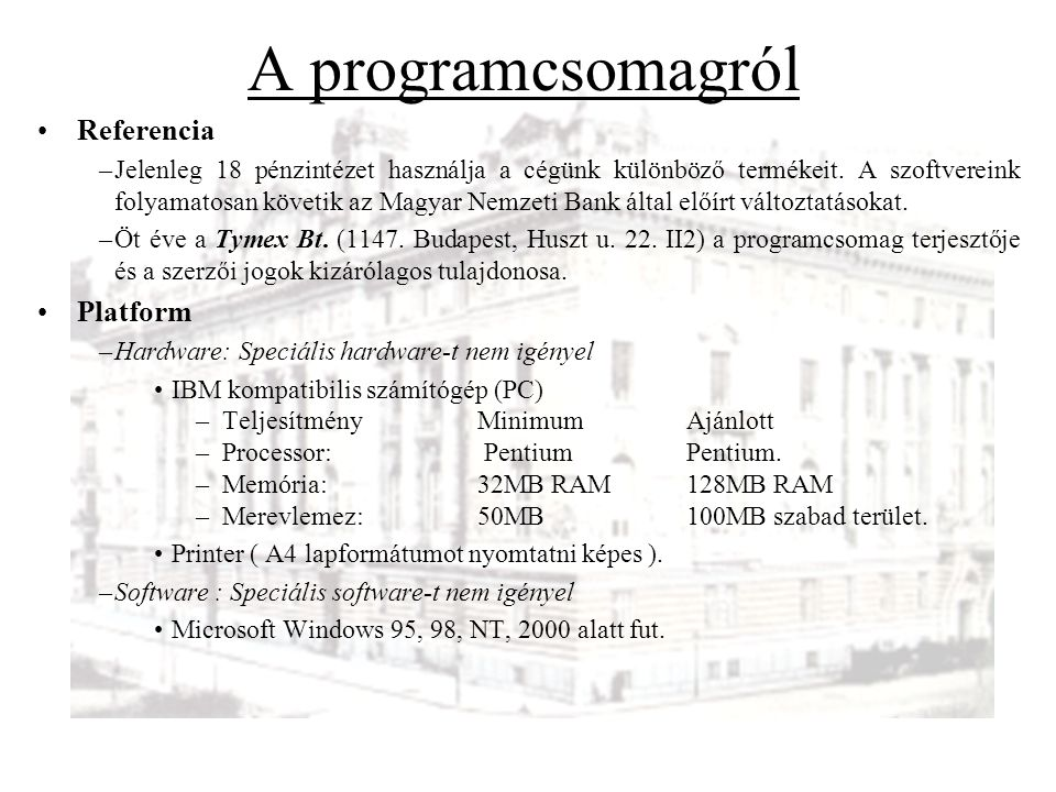 A programcsomagról Referencia Platform