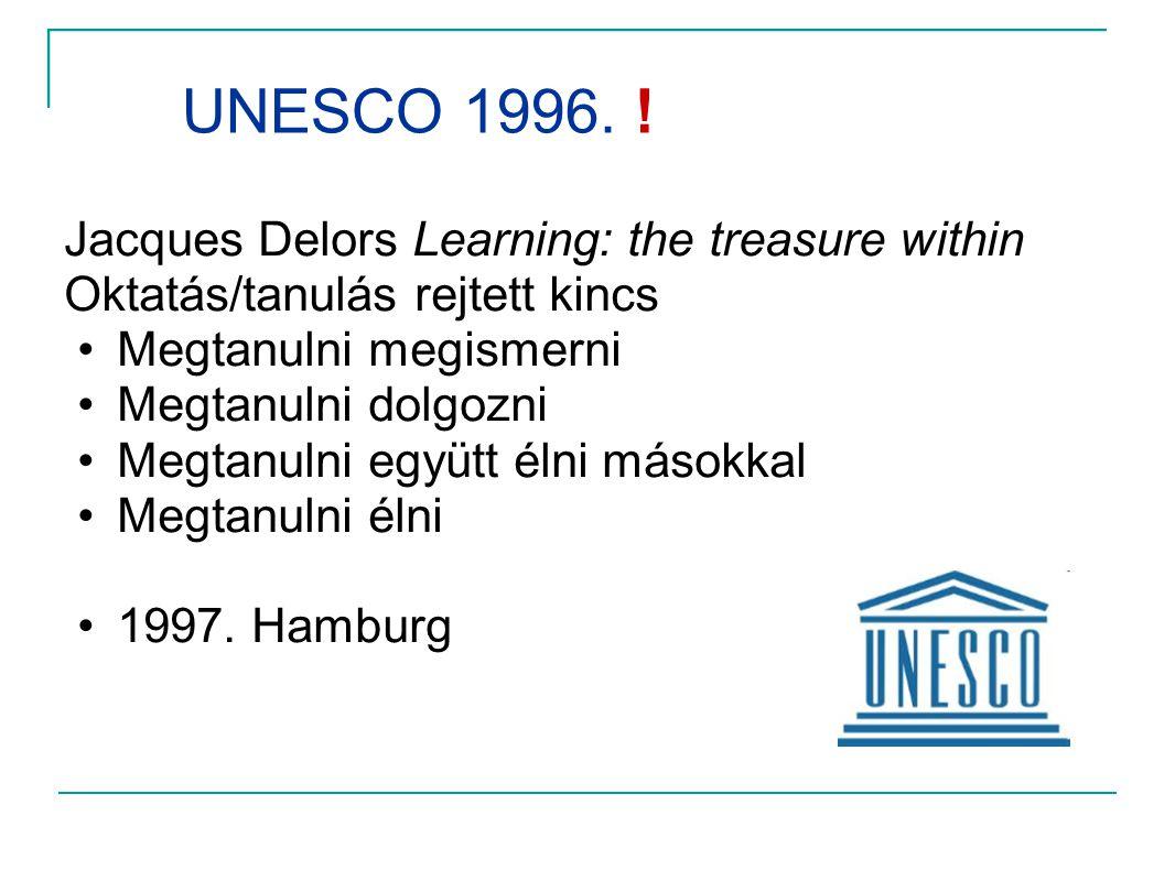 UNESCO 1996. ! Jacques Delors Learning: the treasure within Oktatás/tanulás rejtett kincs. Megtanulni megismerni.