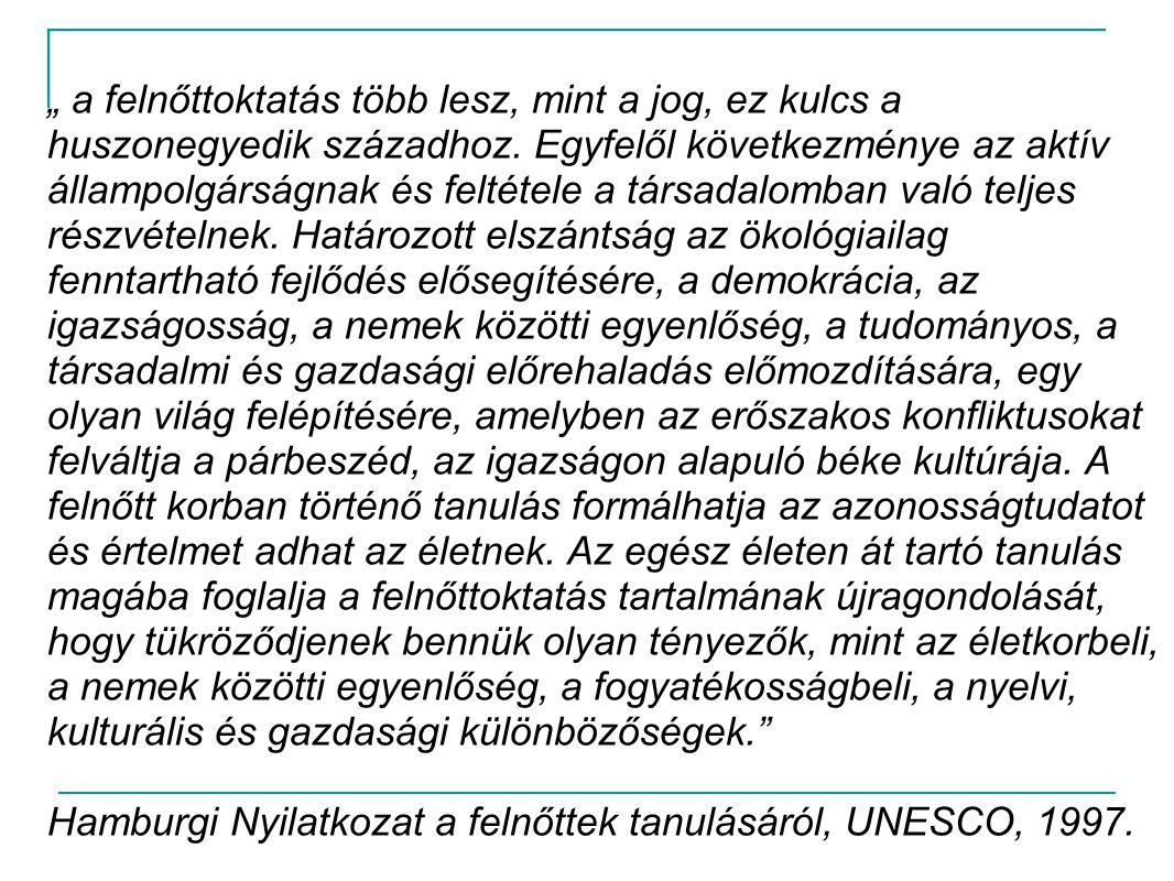 """"""" a felnőttoktatás több lesz, mint a jog, ez kulcs a huszonegyedik századhoz. Egyfelől következménye az aktív állampolgárságnak és feltétele a társadalomban való teljes részvételnek. Határozott elszántság az ökológiailag fenntartható fejlődés elősegítésére, a demokrácia, az igazságosság, a nemek közötti egyenlőség, a tudományos, a társadalmi és gazdasági előrehaladás előmozdítására, egy olyan világ felépítésére, amelyben az erőszakos konfliktusokat felváltja a párbeszéd, az igazságon alapuló béke kultúrája. A felnőtt korban történő tanulás formálhatja az azonosságtudatot és értelmet adhat az életnek. Az egész életen át tartó tanulás magába foglalja a felnőttoktatás tartalmának újragondolását, hogy tükröződjenek bennük olyan tényezők, mint az életkorbeli, a nemek közötti egyenlőség, a fogyatékosságbeli, a nyelvi, kulturális és gazdasági különbözőségek."""