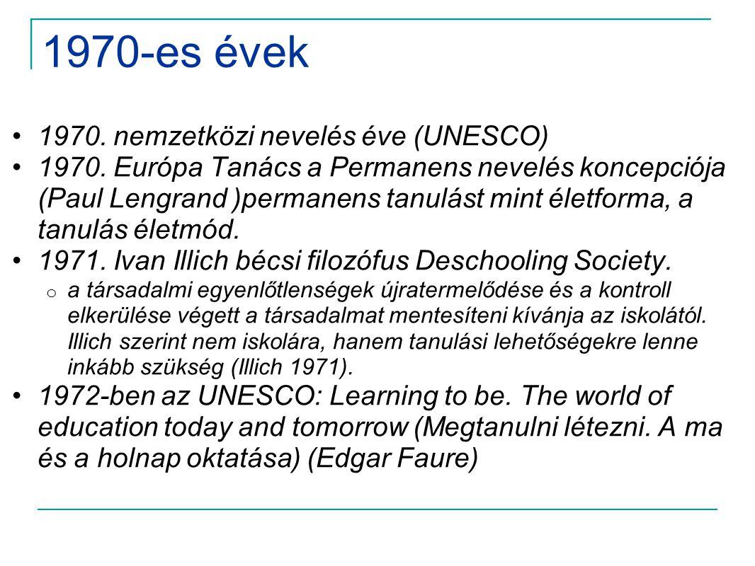 1970-es évek 1970. nemzetközi nevelés éve (UNESCO)