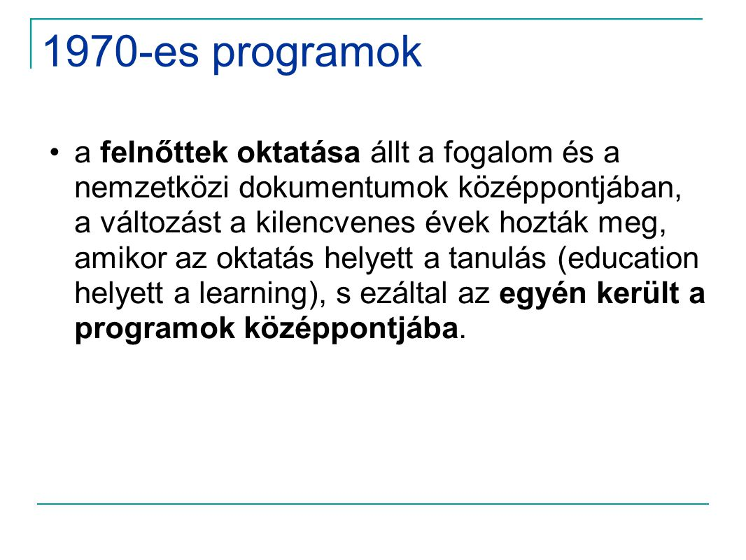 1970-es programok