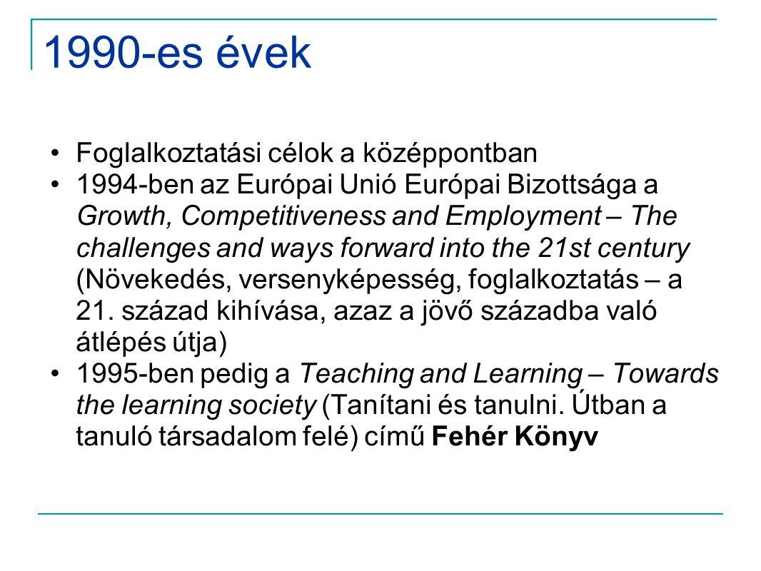 1990-es évek Foglalkoztatási célok a középpontban