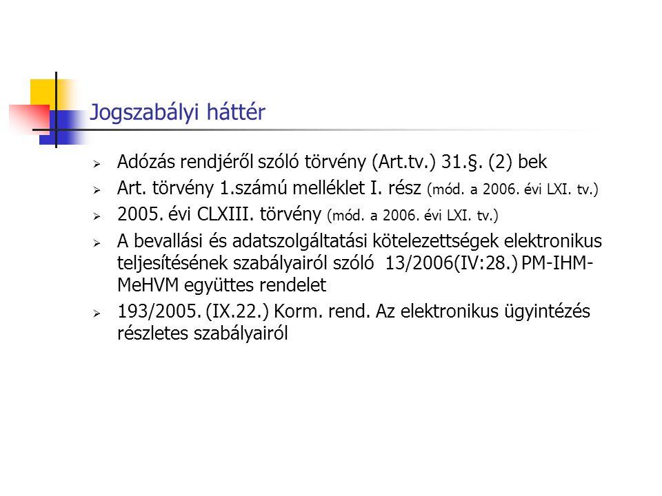Jogszabályi háttér Adózás rendjéről szóló törvény (Art.tv.) 31.§. (2) bek. Art. törvény 1.számú melléklet I. rész (mód. a 2006. évi LXI. tv.)