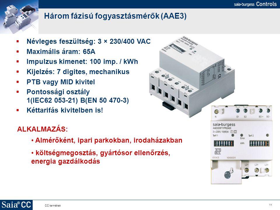 Három fázisú fogyasztásmérők (AAE3)