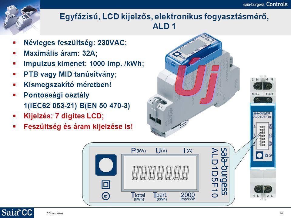 Egyfázisú, LCD kijelzős, elektronikus fogyasztásmérő, ALD 1