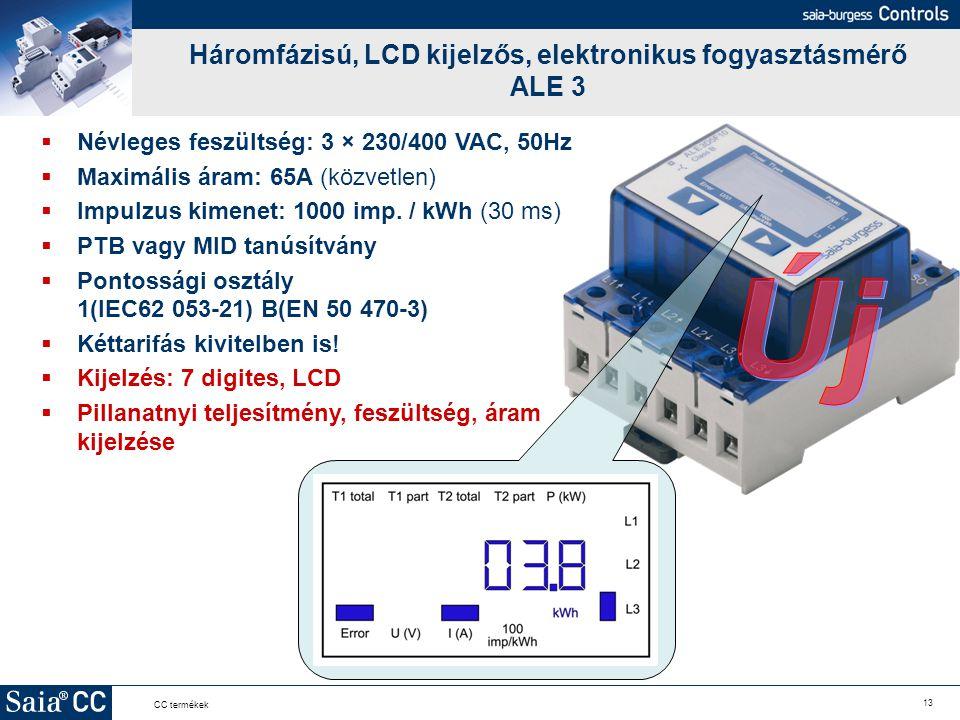 Háromfázisú, LCD kijelzős, elektronikus fogyasztásmérő ALE 3