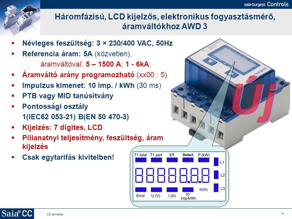 Háromfázisú, LCD kijelzős, elektronikus fogyasztásmérő, áramváltókhoz AWD 3
