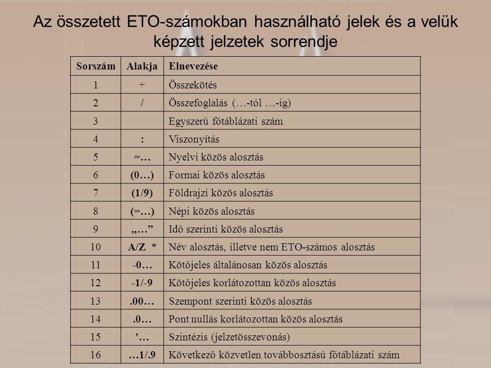 Az összetett ETO-számokban használható jelek és a velük képzett jelzetek sorrendje