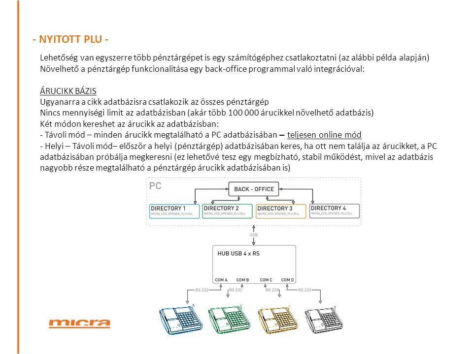 - NYITOTT PLU - Lehetőség van egyszerre több pénztárgépet is egy számítógéphez csatlakoztatni (az alábbi példa alapján)
