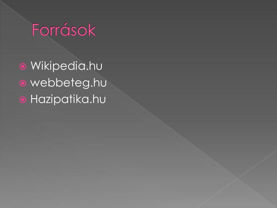 Források Wikipedia.hu webbeteg.hu Hazipatika.hu