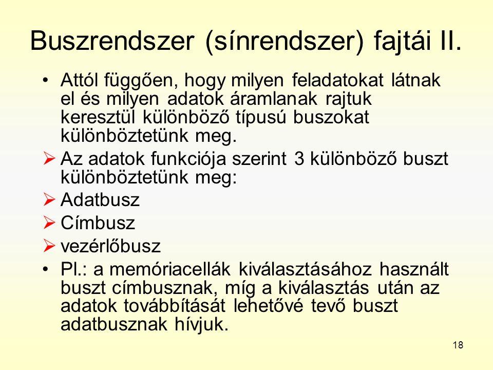 Buszrendszer (sínrendszer) fajtái II.