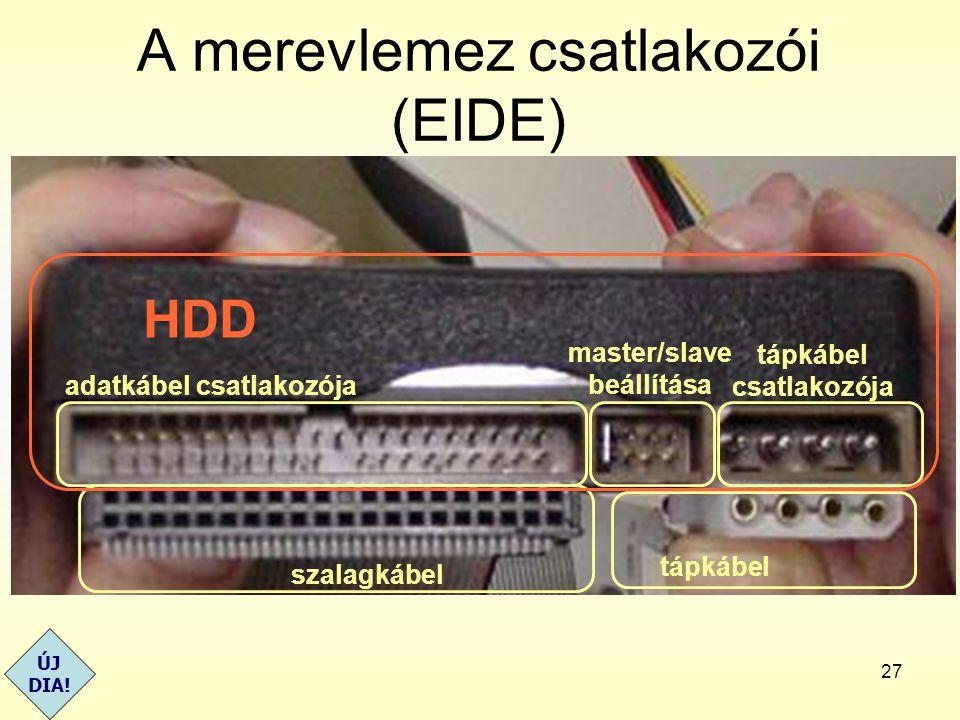 A merevlemez csatlakozói (EIDE)