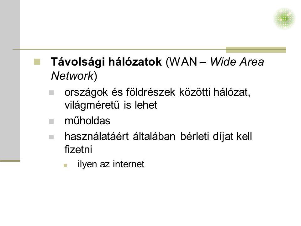 Távolsági hálózatok (WAN – Wide Area Network)