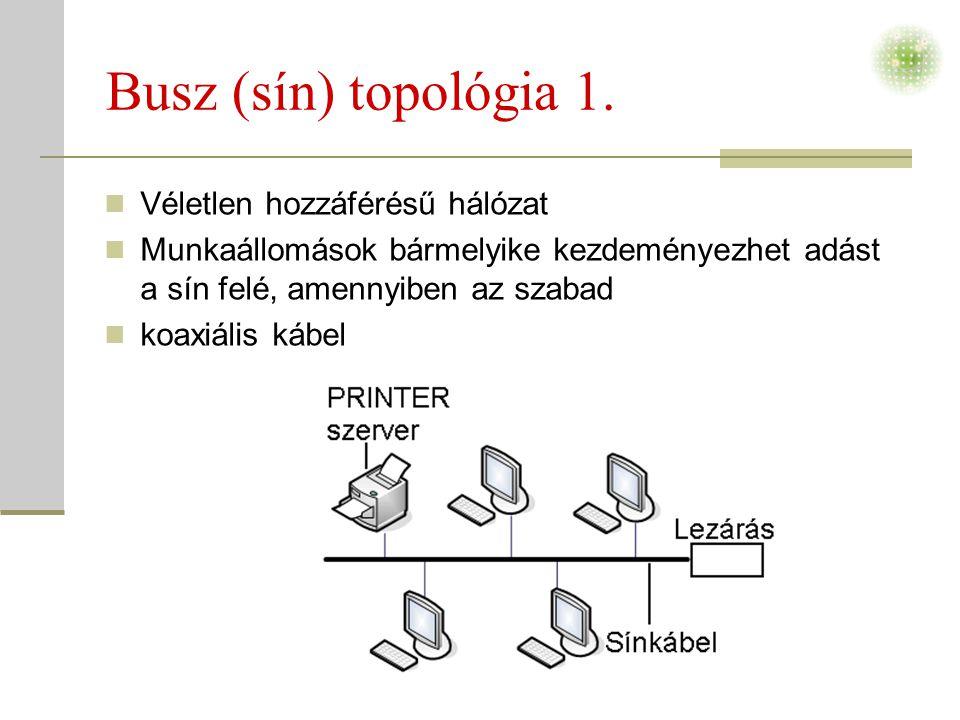 Busz (sín) topológia 1. Véletlen hozzáférésű hálózat