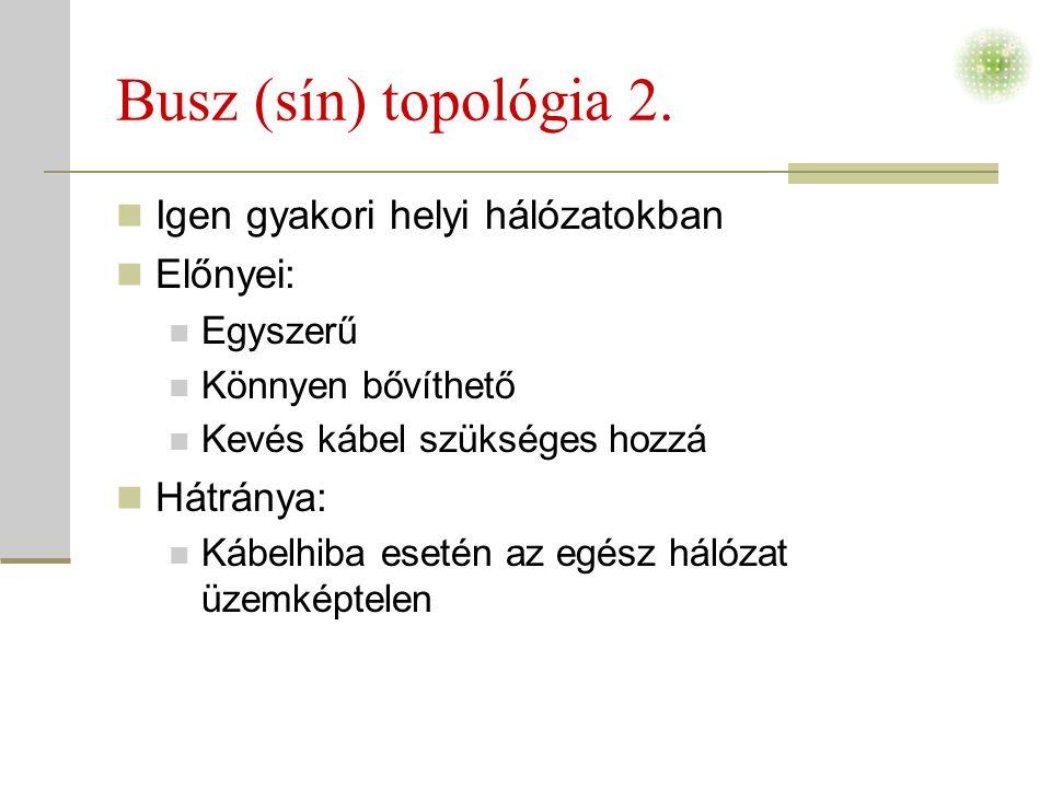 Busz (sín) topológia 2. Igen gyakori helyi hálózatokban Előnyei: