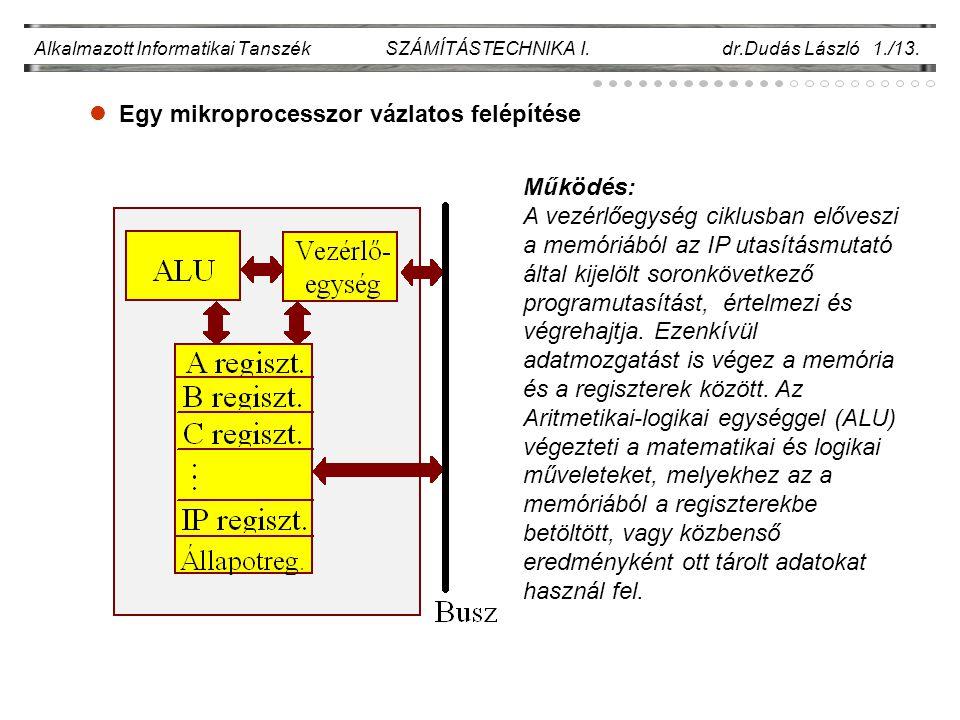 Egy mikroprocesszor vázlatos felépítése