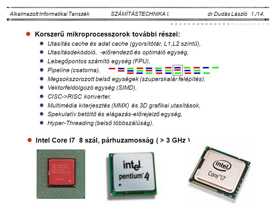 Korszerű mikroprocesszorok további részei: