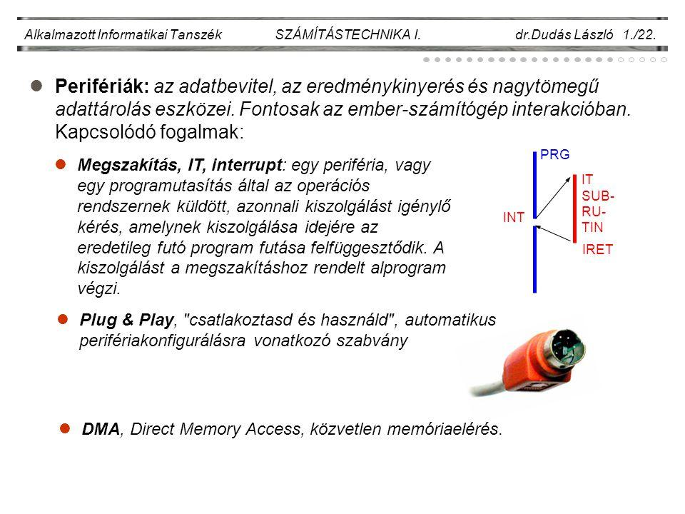 Alkalmazott Informatikai Tanszék SZÁMÍTÁSTECHNIKA I. dr.Dudás László 1./22.