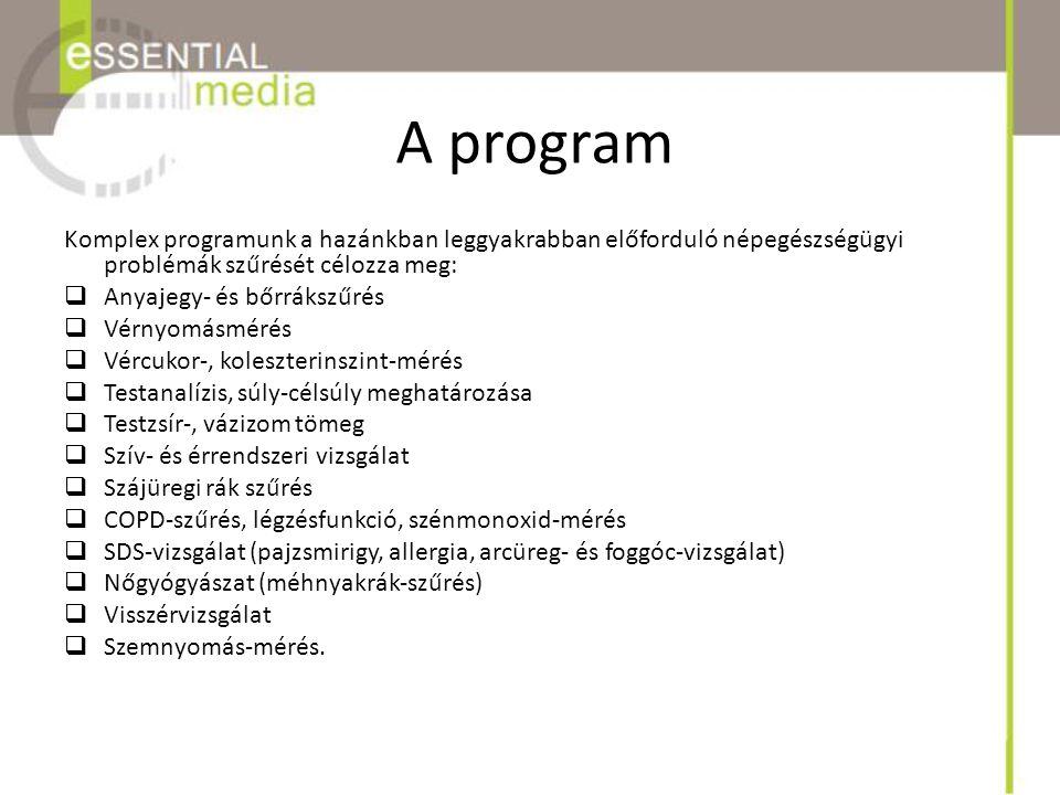 A program Komplex programunk a hazánkban leggyakrabban előforduló népegészségügyi problémák szűrését célozza meg:
