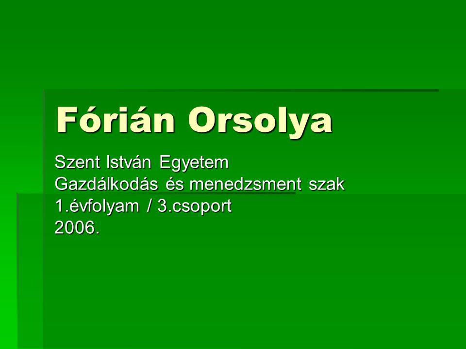 Fórián Orsolya Szent István Egyetem Gazdálkodás és menedzsment szak