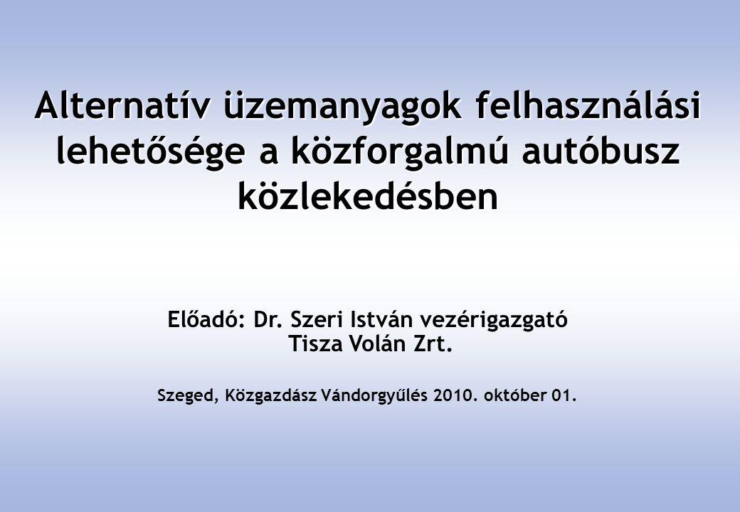 Előadó: Dr. Szeri István vezérigazgató