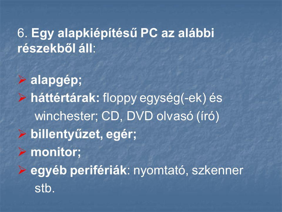6. Egy alapkiépítésű PC az alábbi részekből áll: