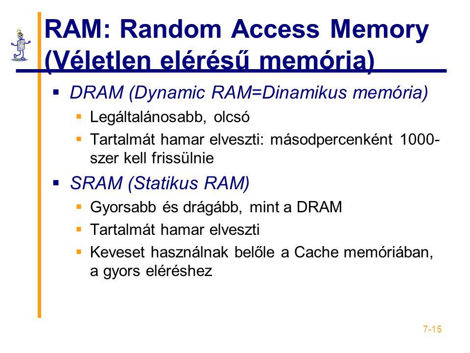 RAM: Random Access Memory (Véletlen elérésű memória)