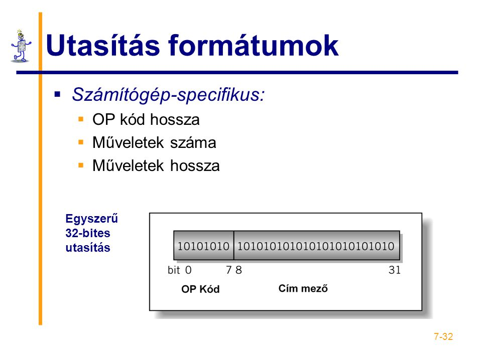 Utasítás formátumok Számítógép-specifikus: OP kód hossza