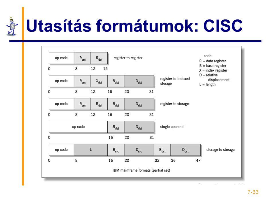 Utasítás formátumok: CISC